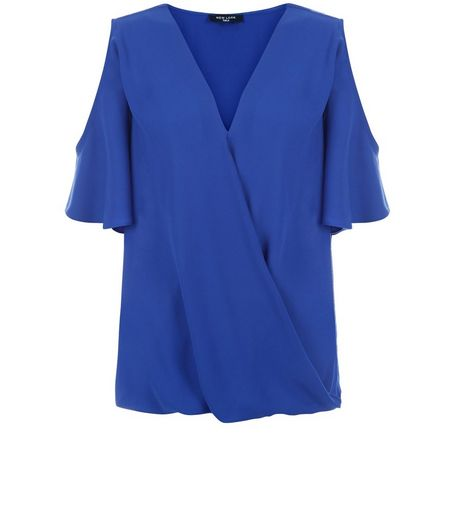 Tall Blue Cold Shoulder Wrap Top | New Look