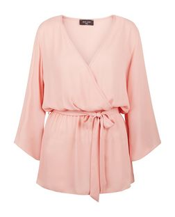 Tall Pink Wide Sleeve Betled Wrap Top | New Look