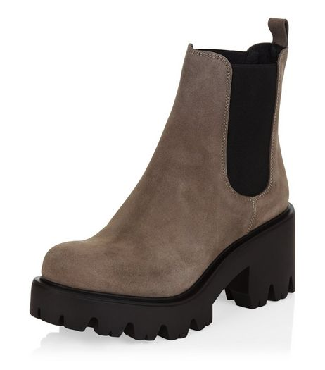 Grey Premium Suede Chunky Cleated Chelsea Boots  | New Look