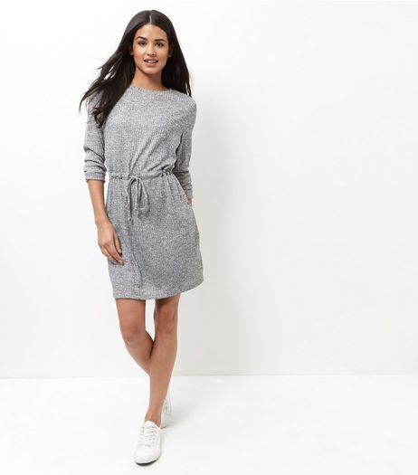 Grey Ribbed Drawstring Waist Roll Sleeve Dress  | New Look