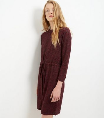 Burgundy Ribbed Drawstring Waist Roll Sleeve Dress