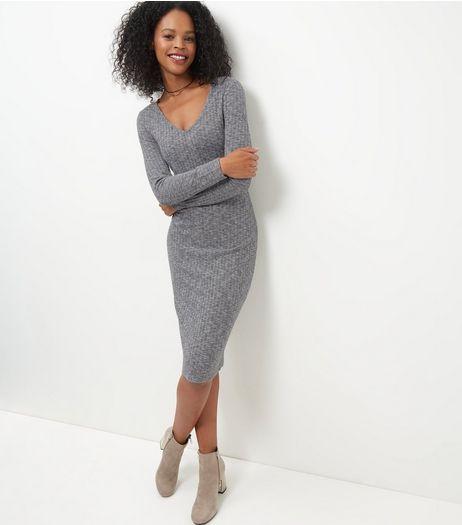 Grey Ribbed V Neck Midi Dress  | New Look