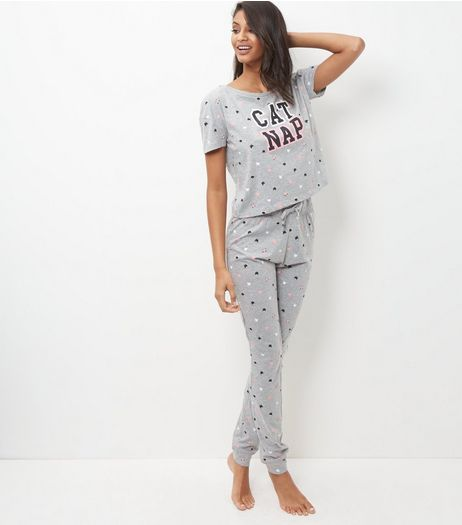 Tall Grey Cat Nap Print Pyjama Set | New Look
