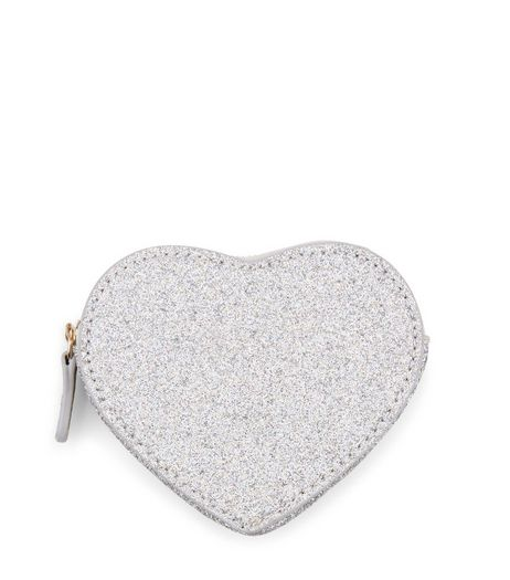 Silver Glitter Heart Coin Purse | New Look