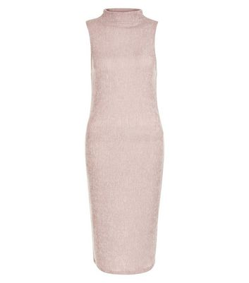 Mid Pink Pleated Funnel Neck Sleeveless Midi Dress