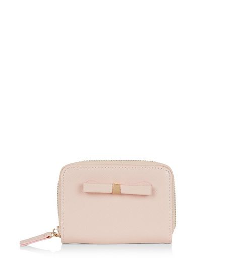 Shell Pink Bow Mini Zip Around Card Holder | New Look