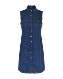 Blue Denim Double Pocket Button Front Dress  | New Look
