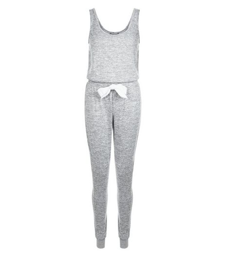 Pale Grey Drawstring Jumpsuit Pyjamas | New Look