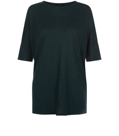 Dark Green Marl Oversized T-Shirt | New Look