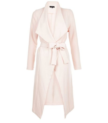 Shell Pink Waterfall Tie Waist Split Side Jacket  | New Look