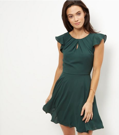 Dark Green Flutter Sleeve Skater Dress  | New Look