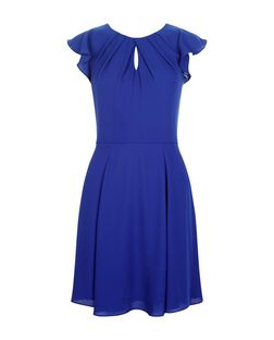 Blue Flutter Sleeve Skater Dress  | New Look