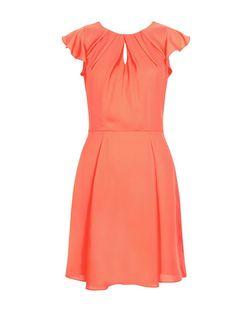 Peach Flutter Sleeve Skater Dress  | New Look