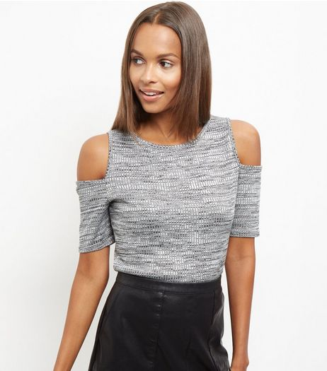 Pale Grey Fine Knit Cold Shoulder Top | New Look