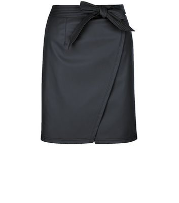 Petite Black Leather-Look Wrap Skirt