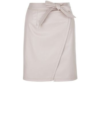 Product photo of Petite shell pink leatherlook wrap skirt