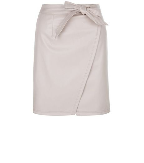 Petite Shell Pink Leather-Look Wrap Skirt | New Look