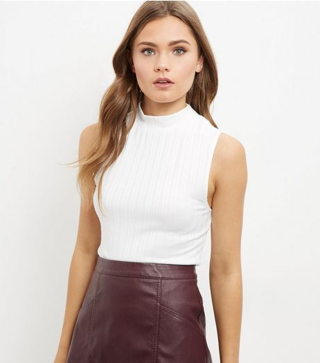Tall White Ribbed Funnel Neck Top  | New Look