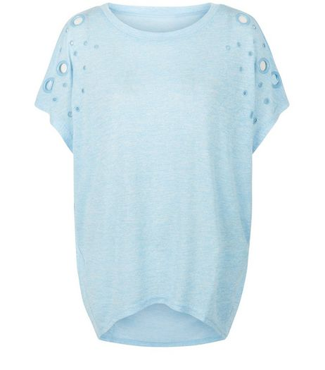 Blue Vanilla Blue Cut Out Oversized T-Shirt | New Look