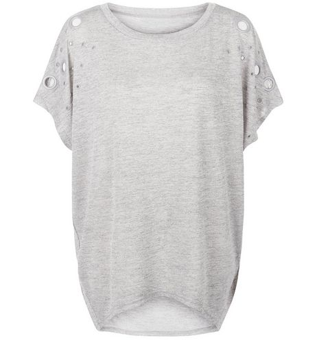 Blue Vanilla Silver Cut Out Oversized T-Shirt  | New Look