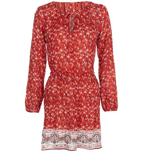 Blue Vanilla Red Floral Print Long Sleeve Dress | New Look
