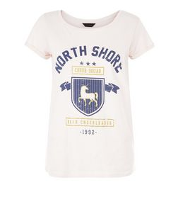 Shell Pink North Shore Roll Sleeve T-Shirt  | New Look