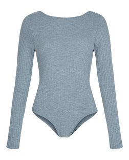Grey Ribbed Long Sleeve Bodysuit  | New Look