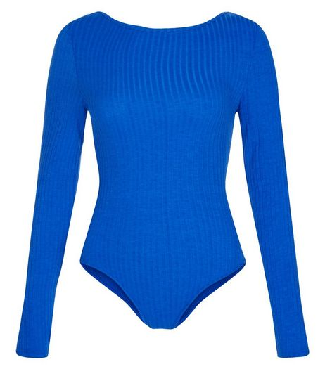 Blue Ribbed Long Sleeve Bodysuit  | New Look