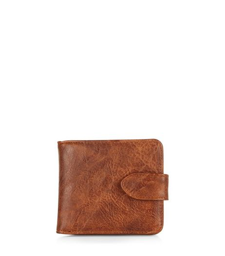 Tan Snap Fastening Leather-Look Wallet  | New Look