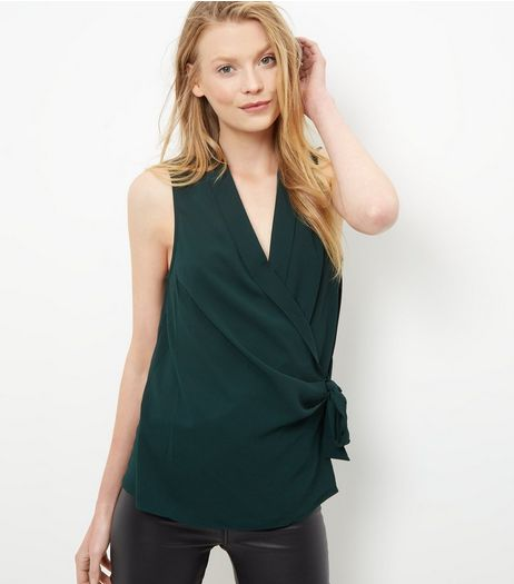 Dark Green Tie Waist Wrap Sleeveless Top | New Look