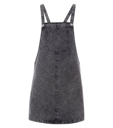 Grey Dungaree Pinafore Dress | New Look