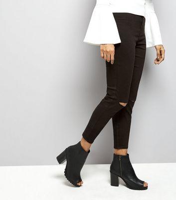 Petite Black High Waisted Ripped Knee Skinny Jeans