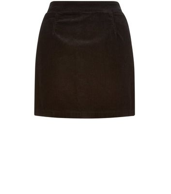 Product photo of Petite black cord aline skirt