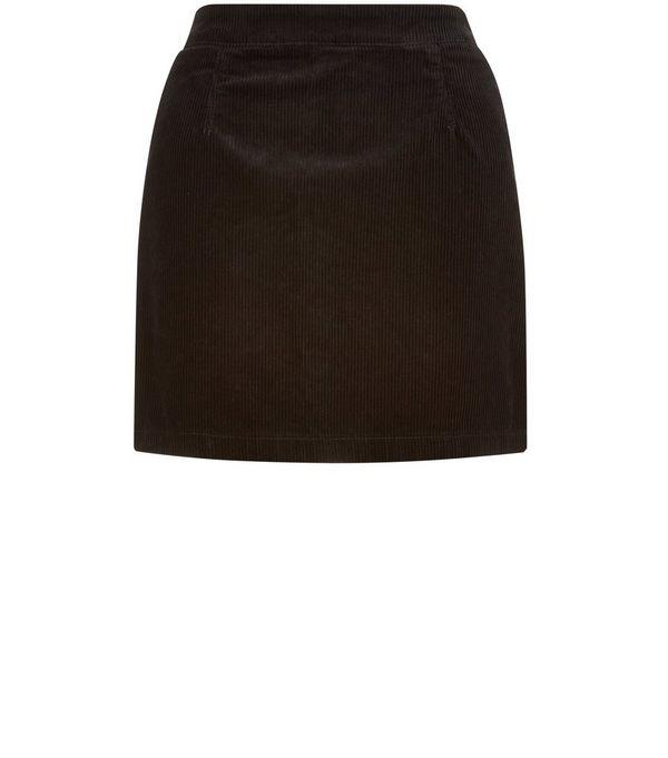 Petite Black Cord A-Line Skirt