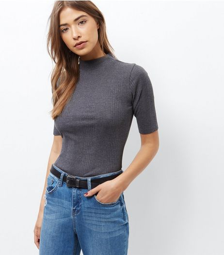 Grey Ribbed Funnel Neck 1/2 Sleeve Top | New Look