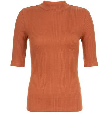 Rust Ribbed Funnel Neck 1/2 Sleeve Top