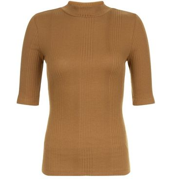 Olive Green Ribbed Funnel Neck 1/2 Sleeve Top