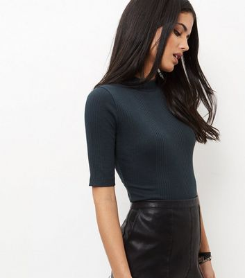 Dark Green Ribbed Funnel Neck 1/2 Sleeve Top