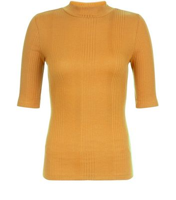 Mustard Ribbed Funnel Neck 1/2 Sleeve Top