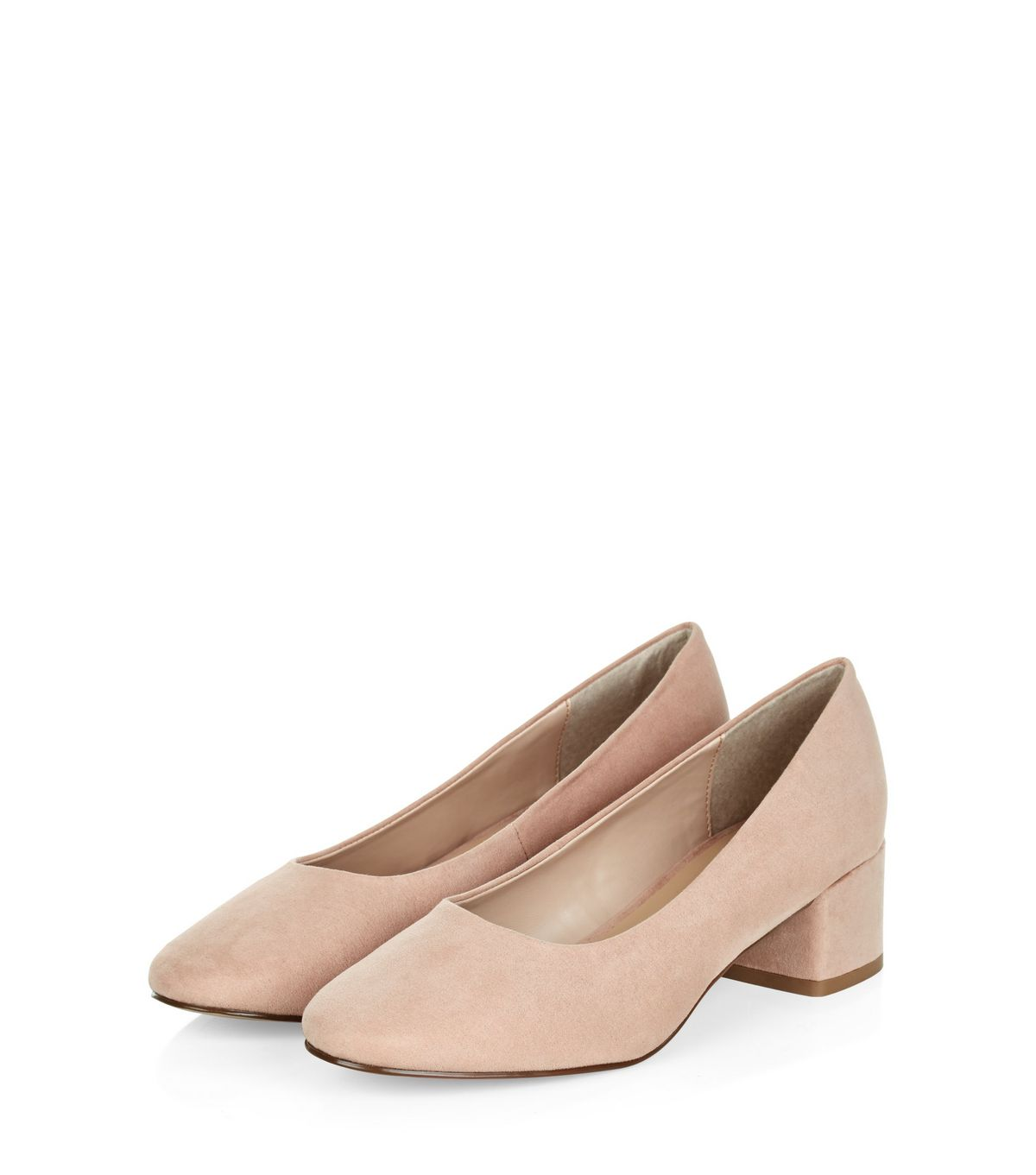 Nude Suedette Mid Block Heels  | New Look