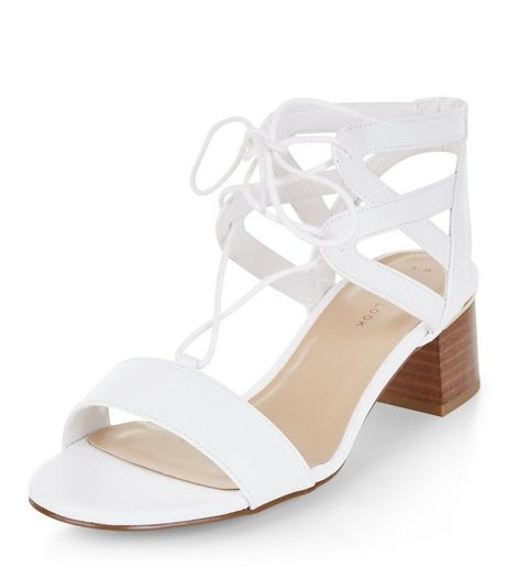 White Block Heel Ghillie Sandals | New Look