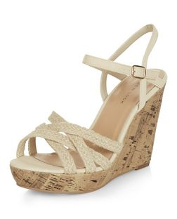 Cream Textured Cross Strap Wedge Sandals  | New Look