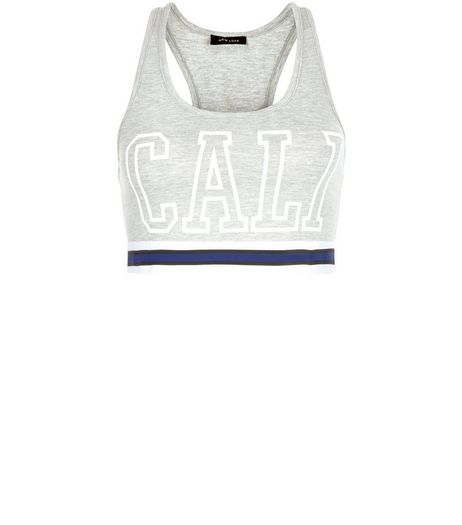 Grey Cali Tape Hem Crop Top  | New Look