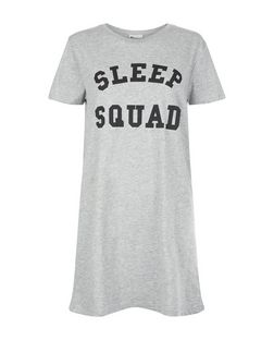 Grey Sleep Squad Print Nightshirt  | New Look