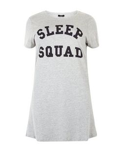 Plus Size Grey Sleep Sqaud Print Nightshirt | New Look