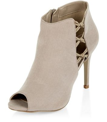 Sandalo  donna Light Brown Suedette Cut Out Knotted Trim Heeled Boots