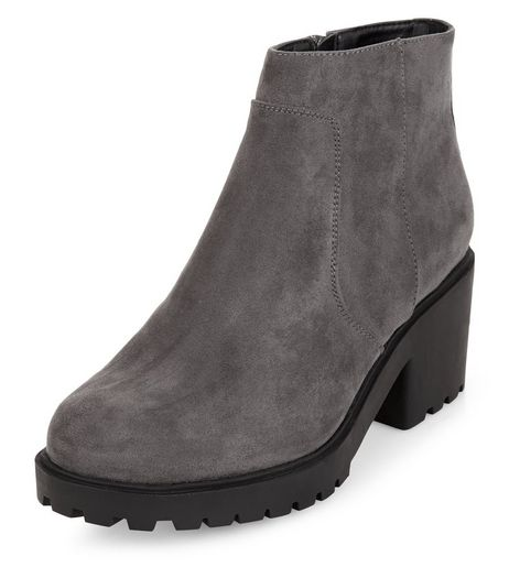 Teens Grey Suedette Cleated Sole Ankle Boots | New Look