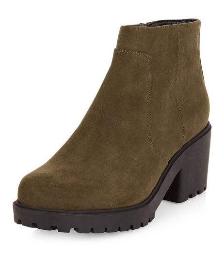 Teens Khaki Suedette Cleated Sole Ankle Boots | New Look