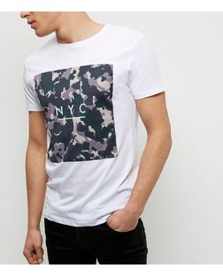 White Camo NYC Print T-Shirt | New Look