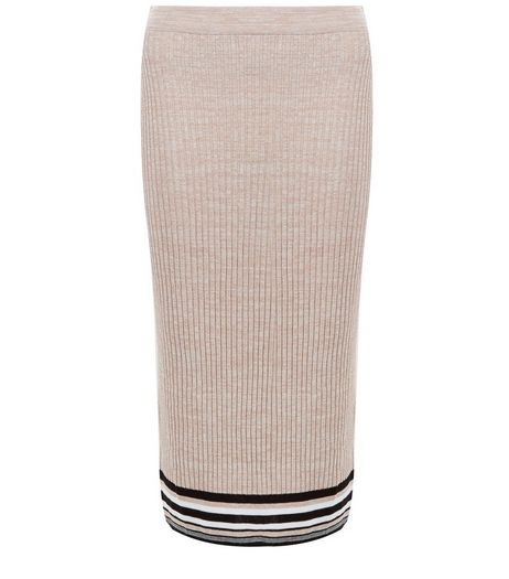 Tall Shell Pink Stripe Trim Ribbed Midi Skirt | New Look